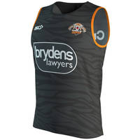 Wests Tigers 2019 Kids Black Training Singlet2
