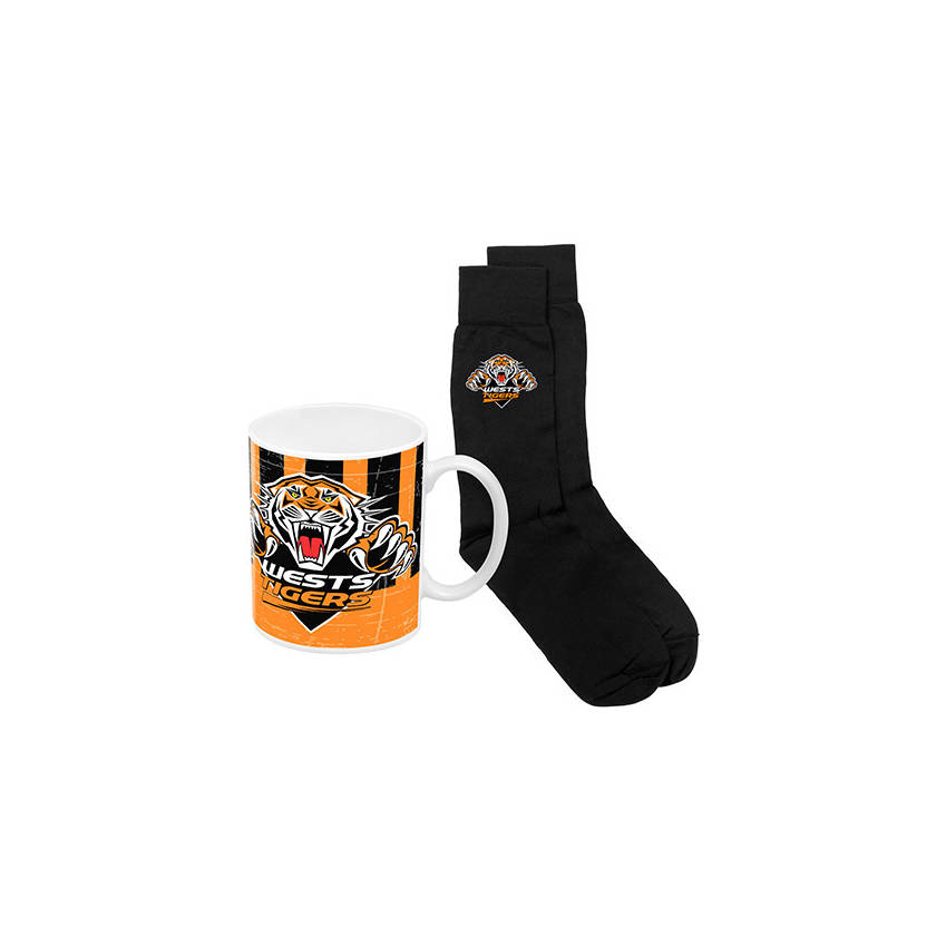 Wests Tigers Heritage Mug and Sock Gift Pack0
