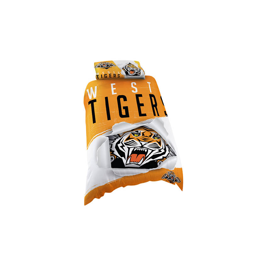 mainWests Tigers Single Quilt Cover0